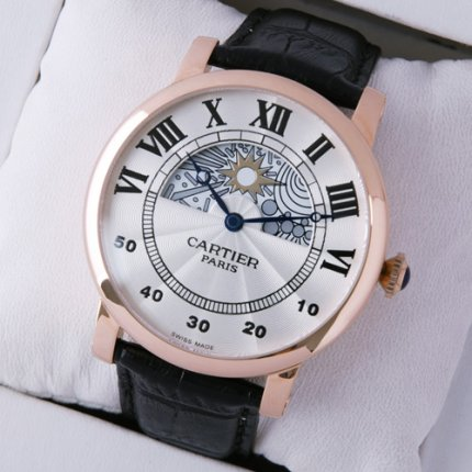 Rotonde de Cartier day-night collection privee pink gold watch for men