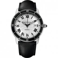Ronde Croisiere de Cartier watch steel silver dial black leather WSRN0002