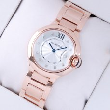 Ballon Bleu de Cartier swiss quartz watch 18kt pink gold diamond dial