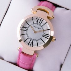 Cartier Ronde Solo watch for women silver dial pink leather strap