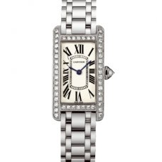 Cartier Tank Americaine diamond 18K white gold watch for women WB7073L1