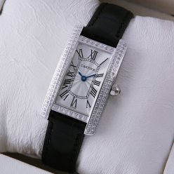 Cartier Tank Americaine diamond watch for women steel black leather strap