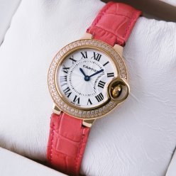 Ballon Bleu de Cartier pink gold watch with diamond bezel leather strap