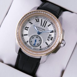 Calibre de Cartier automatic diamond watch pink gold and steel