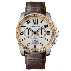 Calibre de Cartier Chronograph watch W7100043 pink gold and steel