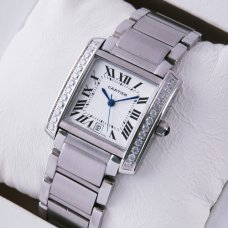 Cartier Tank Francaise replica steel mens watch with diamonds
