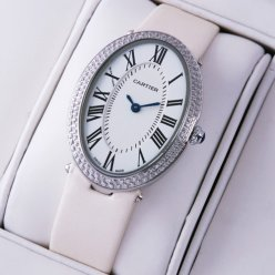 Cartier Baignoire white satin strap diamond watch for women