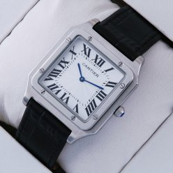 Cartier Santos 100 stainless steel black leather strap quartz mens watch replica