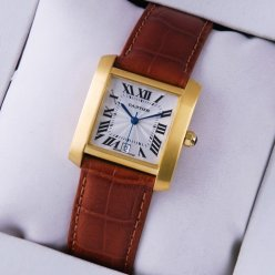 Cartier Tank Francaise mens watch replica 18K yellow gold