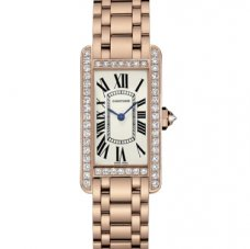 Cartier Tank Americaine 18K pink gold diamond watch for women WB7079M5