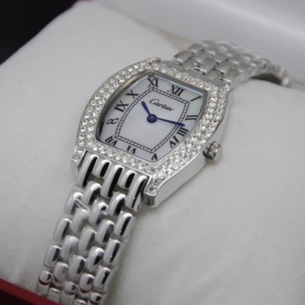 Cartier Tortue watch for women diamond white mother of pearl dial