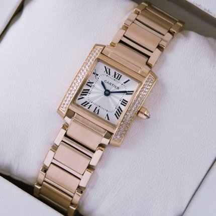 Cartier Tank Francaise 18K pink gold swiss watch for women