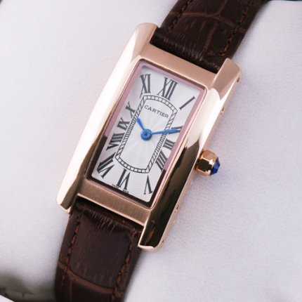 Cartier Tank Americaine womens watch W2607456 18K pink gold brown leather strap