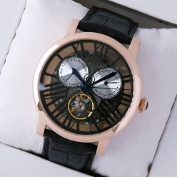 Rotonde de Cartier tourbillon replica skeleton watch for men pink gold