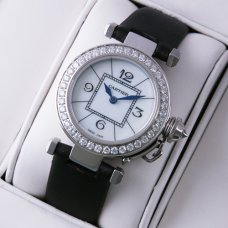 Pasha de Cartier diamond ladies watches replica white mother of pearl dial