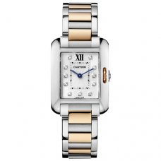 Cartier Tank Anglaise diamond watch WT100024 pink gold and steel