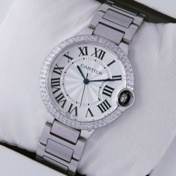 Ballon Bleu de Cartier replica steel watch with diamonds on bezel
