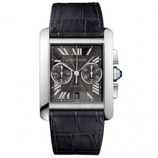Cartier Tank MC Chronograph mens watch W5330008 steel gray dial