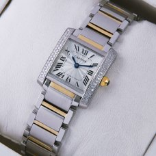 Cartier Tank Francaise diamond watch for women yellow gold and steel