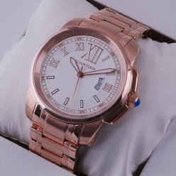 Calibre de Cartier pink gold replica watch for men white dial