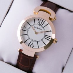 Cartier Ronde Solo watch silver dial brown leather strap for women