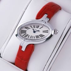 Cartier Delices replica watch diamond for women leather strap