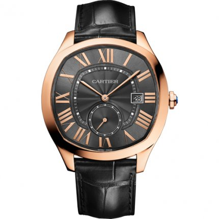 Drive de Cartier watches pink gold gray dial black leather strap WGNM0004