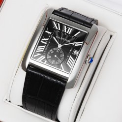 Cartier Tank MC swiss quartz watch steel black dial and leather strap