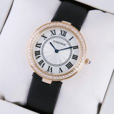 Cartier Ronde Solo pink gold ladies watch with single row diamond bezel