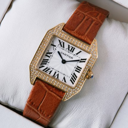 Cartier Santos Dumont diamond watch for women 18K pink gold