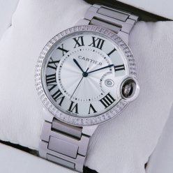 Ballon Bleu de Cartier replica watch silver dial stainless steel