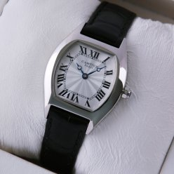 Cartier Tortue women watches black leather strap