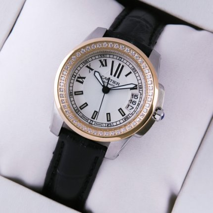 Calibre de Cartier womens watch silver dial pink gold