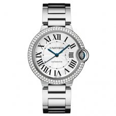 Ballon Bleu de Cartier automatic watch 18kt white gold diamonds bezel