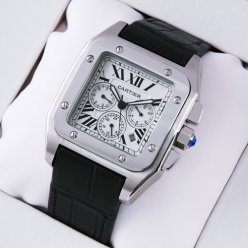 Cartier Santos 100 Chronograph watch for men stainless steel