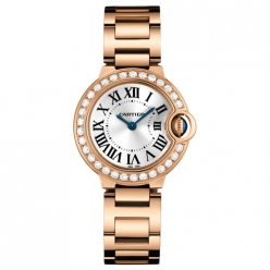 Ballon Bleu de Cartier pink gold watch WE9002Z3 with diamond bezel