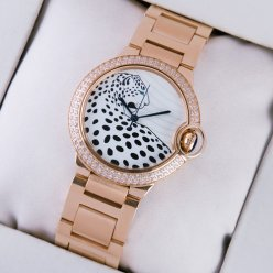 Ballon Bleu de Cartier watch diamond 18kt pink gold leopard-print dial