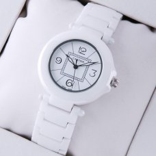 Pasha de Cartier white ceramic womens watches steel white dial