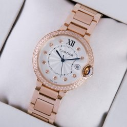 Ballon Bleu de Cartier quartz diamond watch date 18kt pink gold