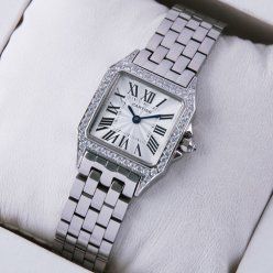 Cartier Santos Demoiselle white gold diamond swiss watch replica for women WF9004Y8