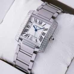 Cartier Tank Francaise diamond men stainless steel watch