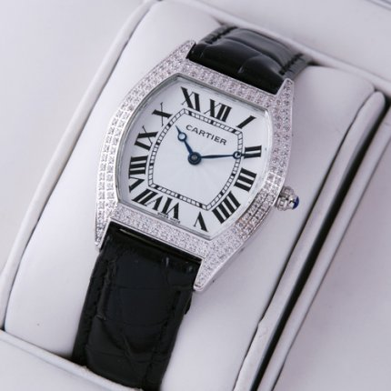 Cartier Tortue watch replica diamond ladies black leather strap
