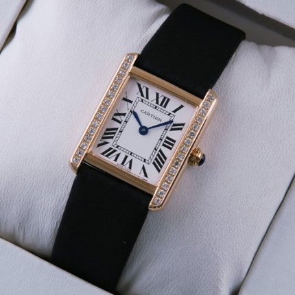 Cartier Tank Solo diamond watch replica 18K pink gold black strap