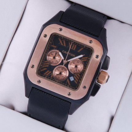 Cartier Santos 100 Chronograph mens watch pink gold and black