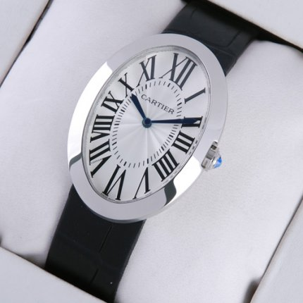 Cartier Baignoire black leather strap mens watch replica