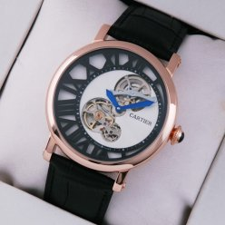 Rotonde de Cartier tourbillon mens watch pink gold white-black dial