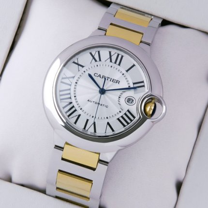 Ballon Bleu de Cartier W69009Z3 large watch 18K yellow gold and steel