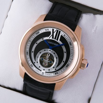 Calibre de Cartier Flying Tourbillon pink gold watch black dial