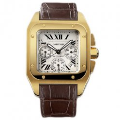 Cartier Santos yellow gold 100 Chronograph XL swiss automatic mens watch W20096Y1
