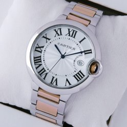 Ballon Bleu de Cartier large watch silver dial 18K pink gold